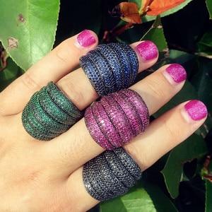 Image 2 - missvikki Indian Dubai Big Fingers Ring for Women Monaco Designer Multicolor Jewelry With Full Cubic Zirconia Top Quality