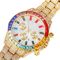 Hip Hop Luxury Quartz Wrist Waterproof Watches AAA CZ Stone Bling Iced Out Stainless Steel Watch Band for Men Charm Jewelry