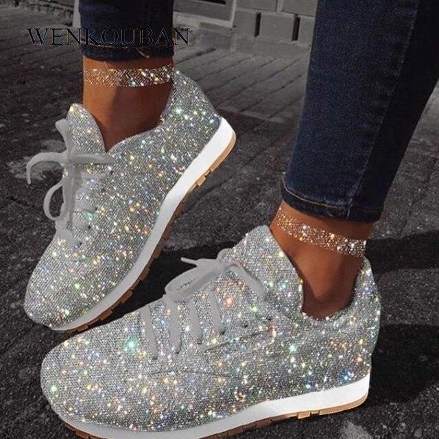 Женская обувь на плоской подошве, повседневные кроссовки с блестками, новая осенне зимняя обувь на платформе размера плюс 2020