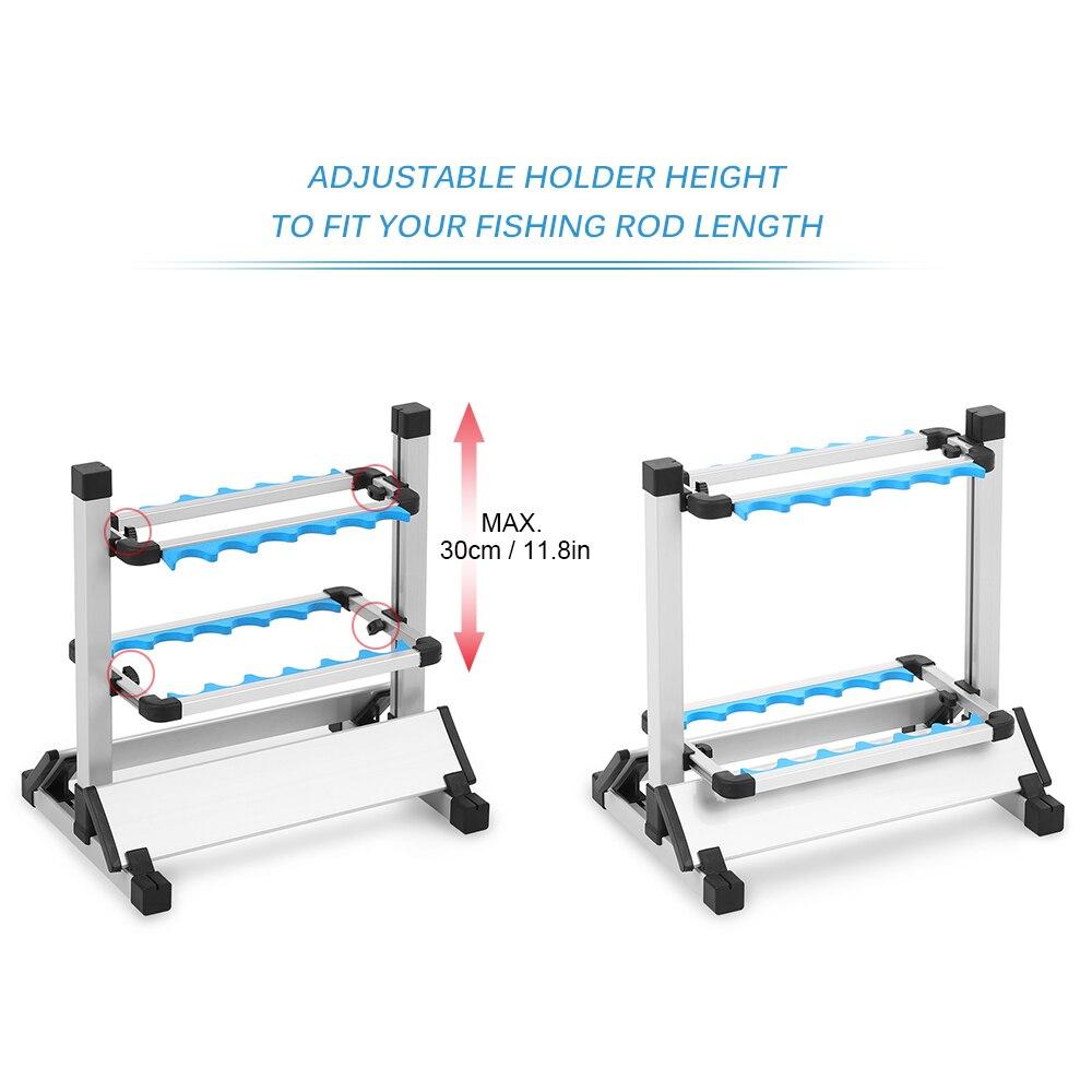 12/24 Support de canne à pêche Support de canne à pêche en alliage d'aluminium léger Support de canne à pêche Support d'étagère Support de matériel de pêche