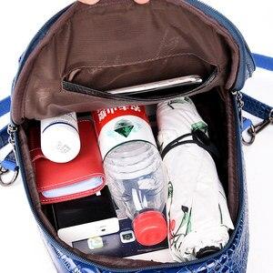 Image 4 - 女性のための女の子レディースワニ皮パターンバックパックmochila feminina旅行バックパック嚢aドスショルダーバッグ