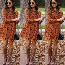 Kobiety z długim rękawem sukienka kwiatowy sukienki midi eleganckie Vintage Vestidos do kolan kobiety dorywczo zima Plus rozmiar sukienki S-5XL tanie tanio Poliester NONE Luźne VZ1597 Jesień High Street O-neck empire Pełna Drukuj REGULAR Orange Navy