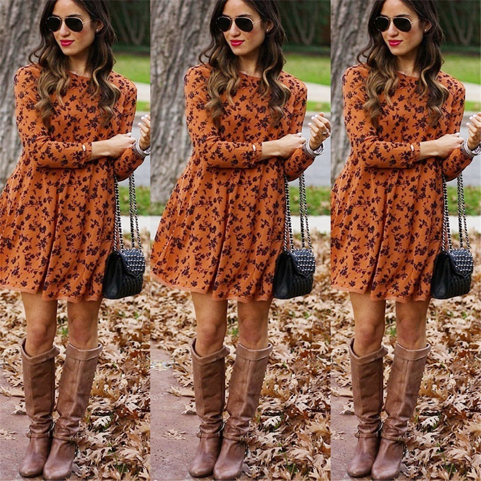 Women Long Sleeve Dress Floral Midi Dresses Elegant Vintage Vestidos Knee-Length Women Casual  Winter Plus Size Dresses S-5XL