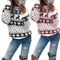 Женские свитера, рождественские свитера, зимние свитера с принтом снежинок и лося, зимние пуловеры с длинным рукавом и круглым вырезом, женс...