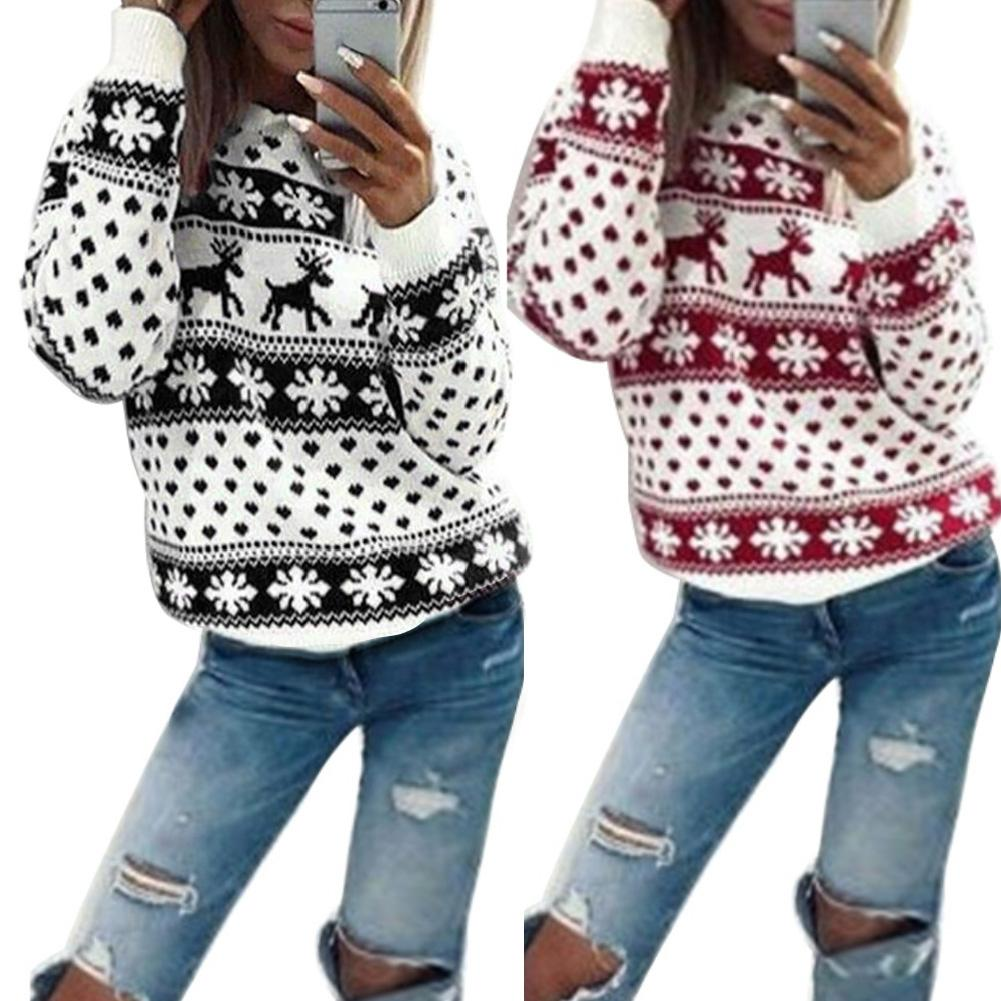 Women Sweaters Christmas Sweaters Snowflake Elk Printed Winter Sweaters Long Sleeve O Neck Winter Pullovers Ladies Sweaters