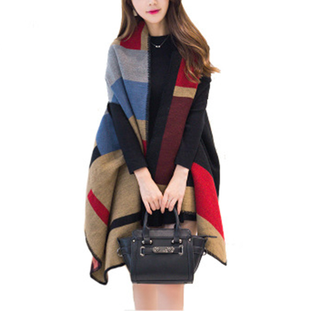 8 Styles Women Winter Wrap With Sleeve Shawls And Wraps Thicken Scarf Stoles Warm Reversible Ponchos And Capes
