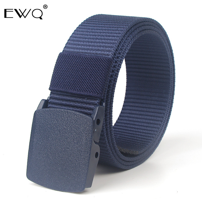 EWQ / POM Quick-drying Smooth Buckle Men's Belt Imitation Nylon Non-metal Security Screening Tactical Belt For Men Women 9Y420