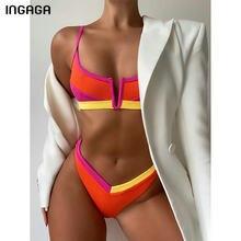 INGAGA Sexy bikini żebrowane stroje kąpielowe kobiety stroje kąpielowe stroje kąpielowe Push Up solidny Patchwork stroje kąpielowe stringi wysokie cięcie Biquini 2021