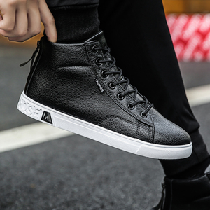 Image 3 - Autumn and Winter High top Shoes Wild Fashion Keep Warm  PU Mens Casual Shoes Trend Wear Resistant Sloe Mens Fasthion Sneakers