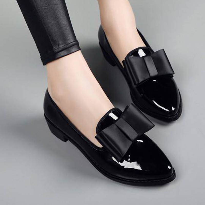 Women Bow Low Heels Women's Pointed Toe Pumps Patent Leather Platform Woman Slip On Fashion Female Footwear Ladies Shoes 2020