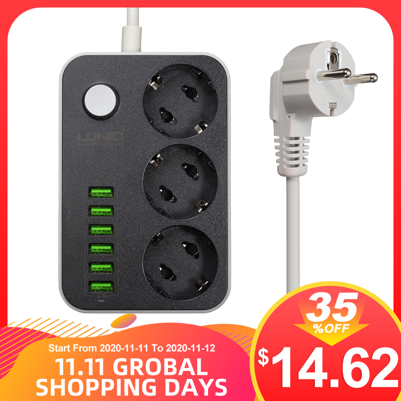 LDNIO 5V 3 4A Smart USB Power Strip Desktop 3 Power Socket 6 USB Port 1 6m EU Plug Charging Socket
