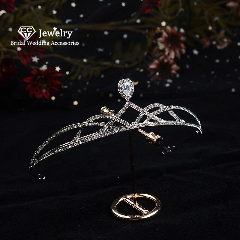 CC Haar Crown Haarband Hochzeit Tiaras Braut Kopfstück Partei Engagement Zubehör Königin Hairwear Einfache Design CZ Stein HG428