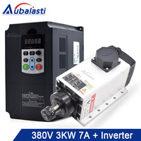 Aubalasti 3KW Air Cooling Spindle 380V 7A + Inverter 3 Phase 380V 4KW Current 9A for CNC Router machine
