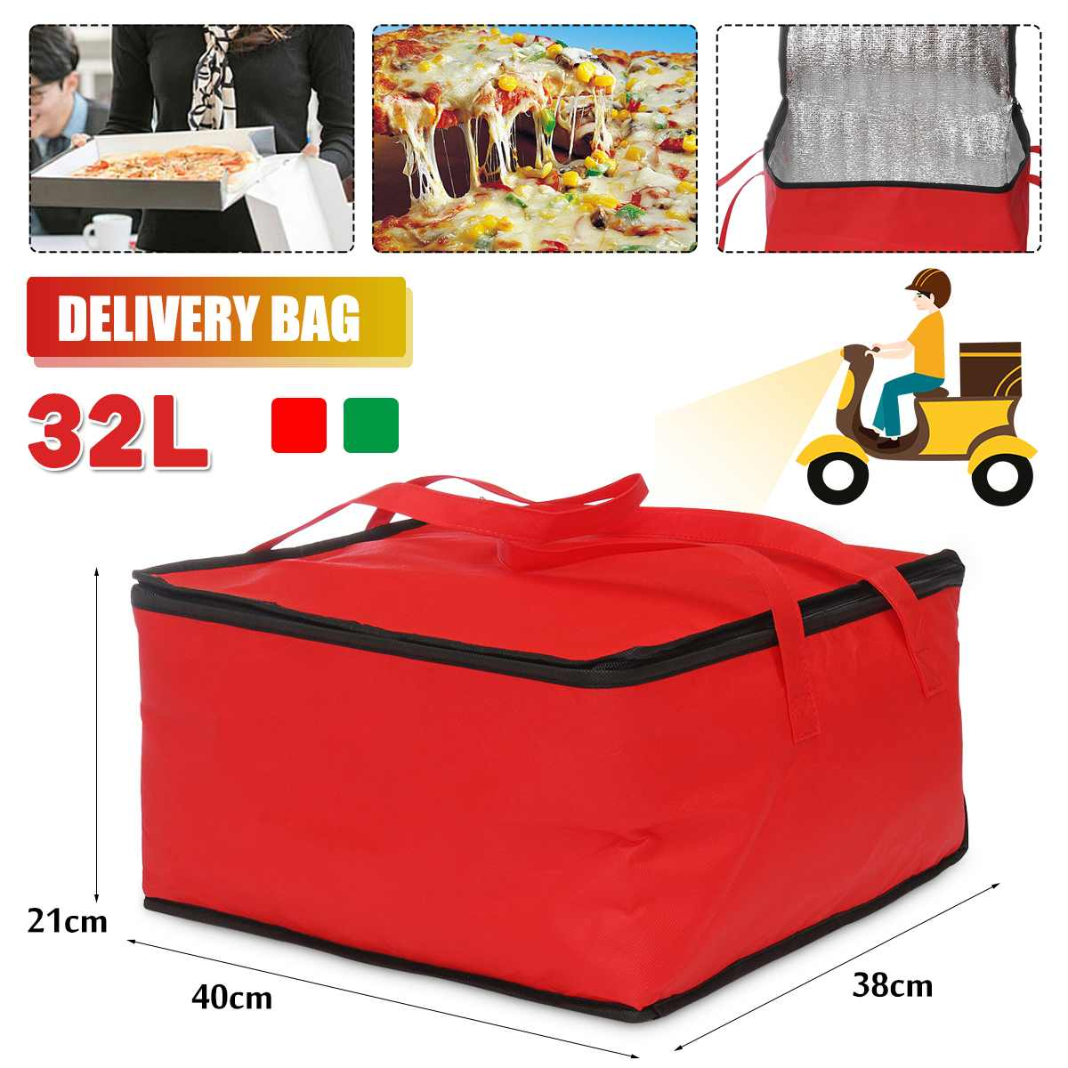 32L Waterproof Insulated Bag Lunch Cooler Bag Insulation Folding Picnic Portable Ice Pack Food Thermal Food Delivery Bag Pizza
