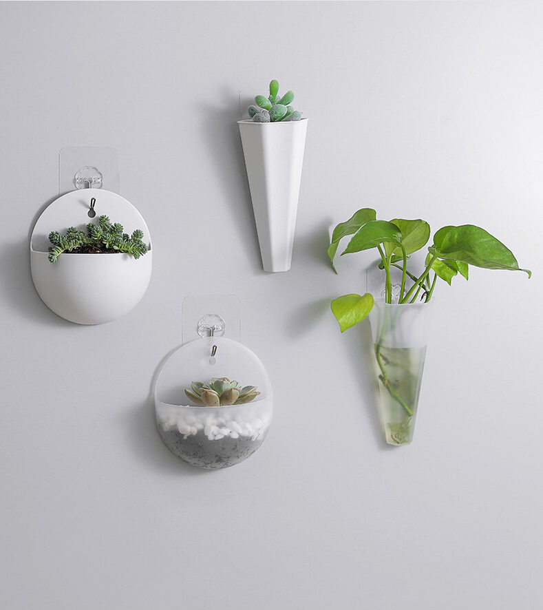 2020 Retro White Semicircle Transparent Wall Mounted Acrylic Vase Wall Hanging Planter Plant Flower Pot Flower Pots Planters Aliexpress