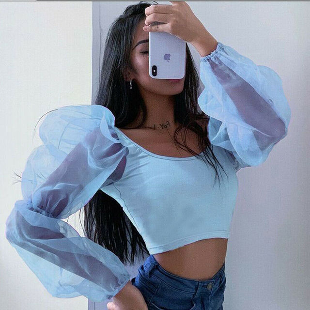 Womens Cropped Tops Sheer Tees Casual T-shirts Mesh Puff Sleeve Blouse Slim Fit