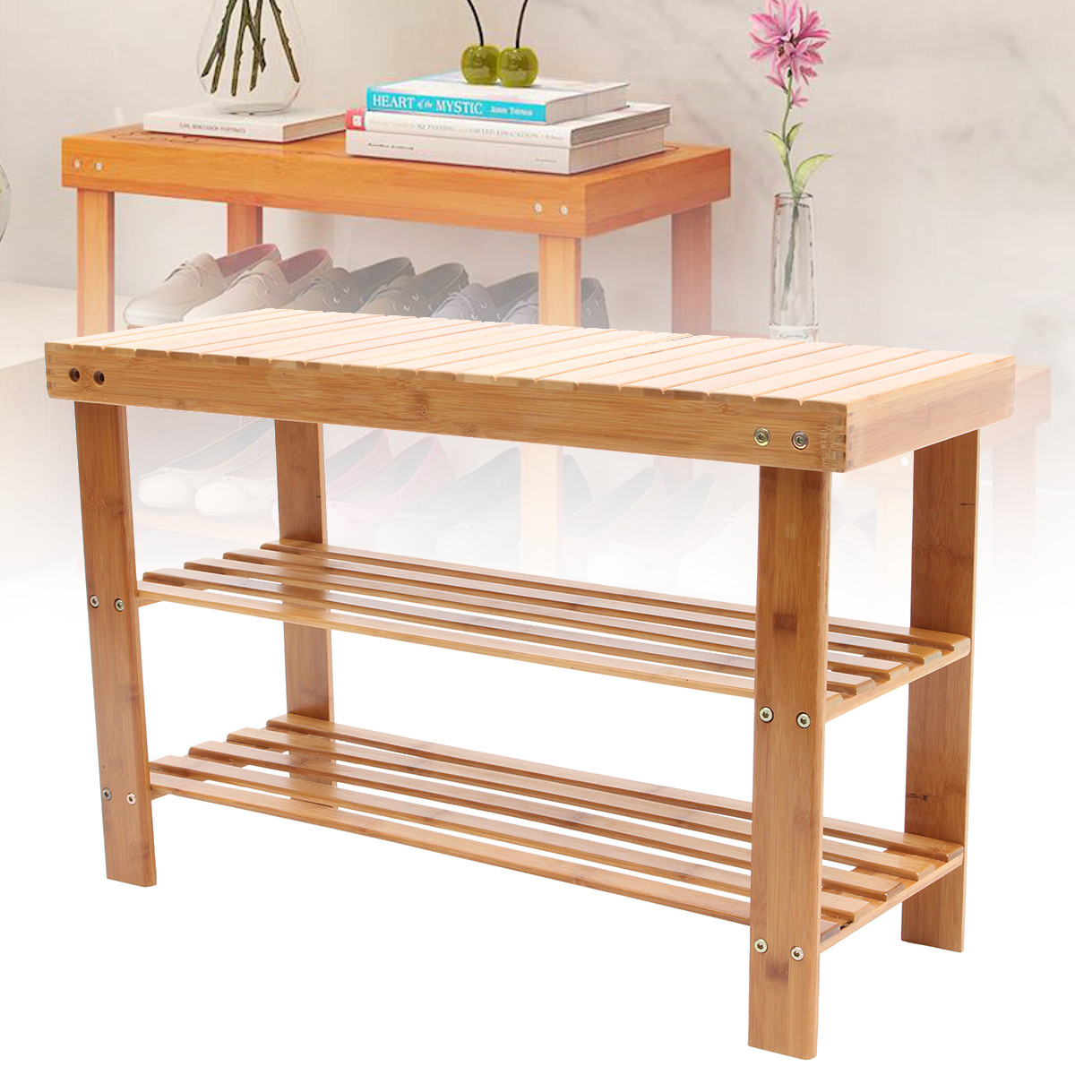 Shoe Rack Bamboo Shoe Cabinet Nordic Change Shoes Storage Long Bench Stool Shoes Bench Simple Shoe Organizer Rack
