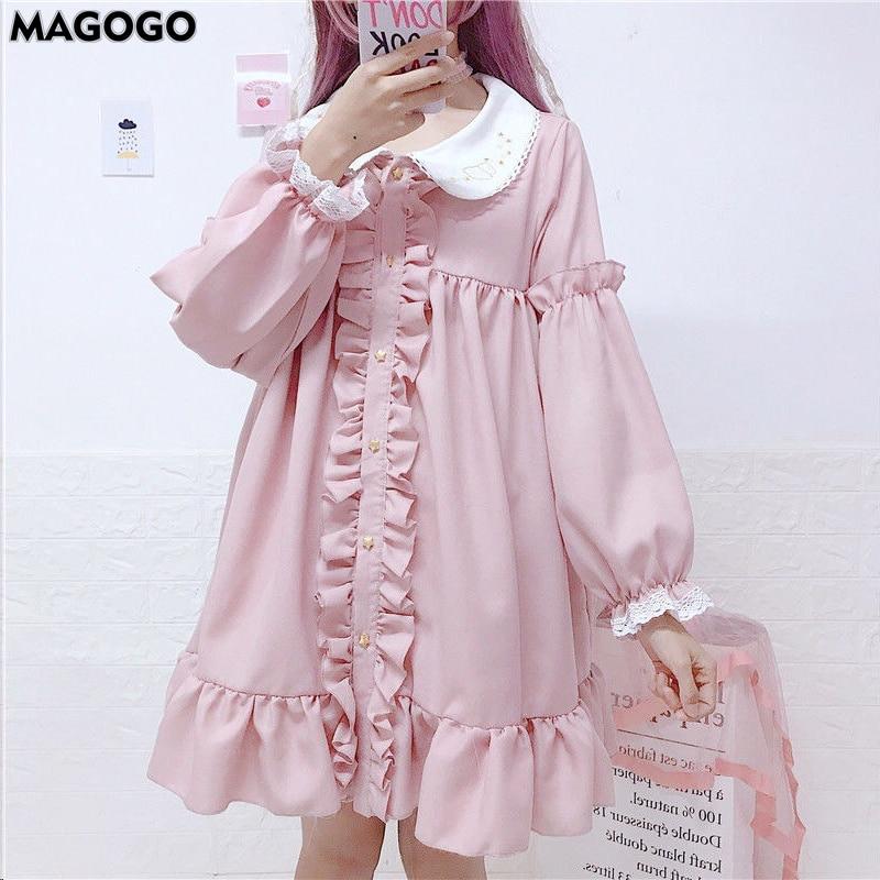 MAGOGO Doll Ruffles Lolita Dress Women New  Peter Pan Collar Pink Cute Sweet Dress Soft Sisters Costume Dress