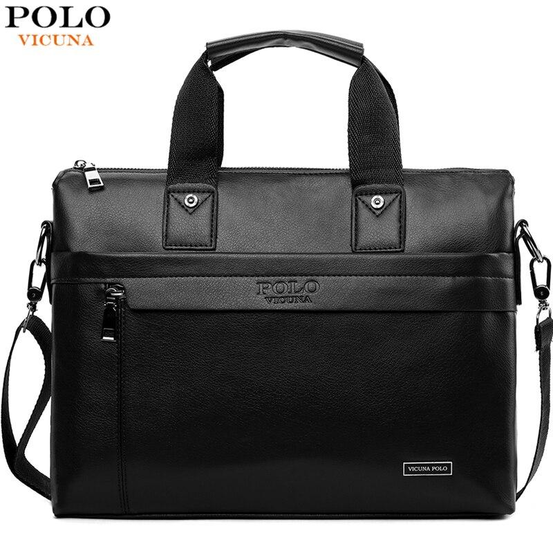 VICUNA POLO 상위 판매 패션 간단한 점 유명 브랜드 비즈니스 남성 서류 가방 가죽 노트북 가방 캐주얼 남자 가방 어깨 가방