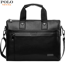 VICUNA POLO Top Sell Fashion Simple Dot Famous Brand Business Men Briefcase Bag Leather Laptop Bag
