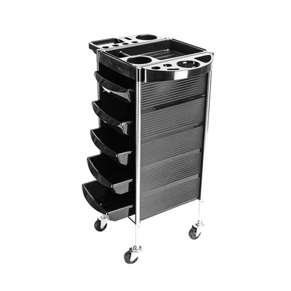 The YC-Q7 5 Tiers Hairdresser Beauty Storage Trolley Black A Large Capacity  ABS Fashionable Appearance Storage Trolley