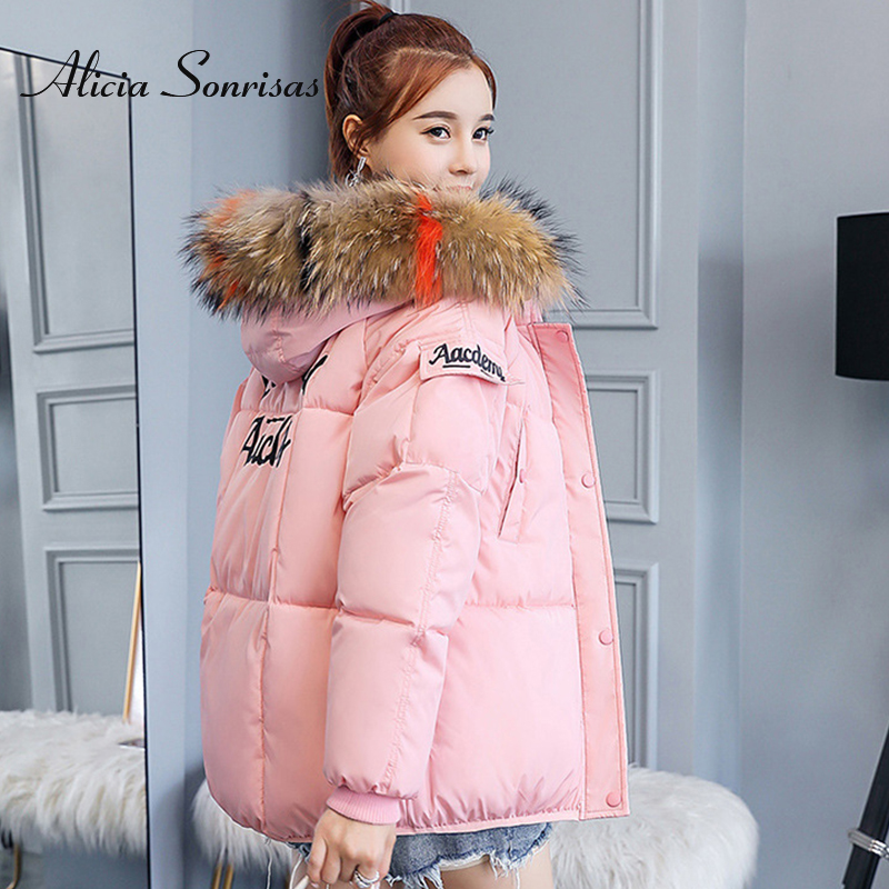 2019 Winter Jacket Women Short Down Cotton Padded Parka Hooded Big Size  Warm Thick Parka Fur Collar Slimming Female Winter Coat
