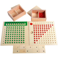 Wooden Montessori Materials Mathematics Teaching Toys Multiplication & Division Math Toy Beads Board Red Green Christmas gift
