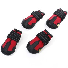 4pcs Dog Hiking Shoes Fabric PU Leather Outdoor Sport Waterproof Black Red Colors Protect Not To Hurt For Dogs