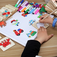 painting template baby graffiti learning painting tools children diy handmade wooden toy painting set