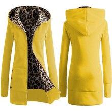 New Arrival Autumn Winter Women Woollen Coat Long Sleeve Leopard Zipper Hooded Sleeves Fleece Lined Slim Fit Outwear