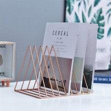 Solid Color 9 Grid File Storage Shelf Book Stand Desktop Nordic Wrought Iron Holder Office Desk Organizer