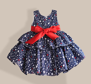 Image 2 - Star Print Red Bow 100% Cotton Layers Baby Girls Dress 1 year birthday party wedding kids clothes infant toddler wear 3M 6M 12 4