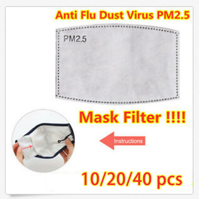 10/20//40pc Breathable PM2.5 Filter Paper Anti Haze Mouth Mask Outdoor Anti Dust Mouth Cover 12.5x8cm Anti Pollution Mask Filter