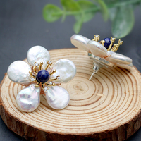 New Natural Fresh Water Baroque Pearl Lapis Lazuli Flower 925 Sterling Silver Stud Earring For Women Fine Jewellery