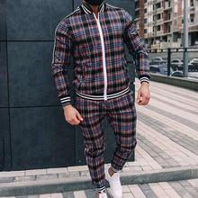 Jogger men's sportswear spring and autumn fashion plaid sportswear casual two-piece men's sports suit streetwear men's suit