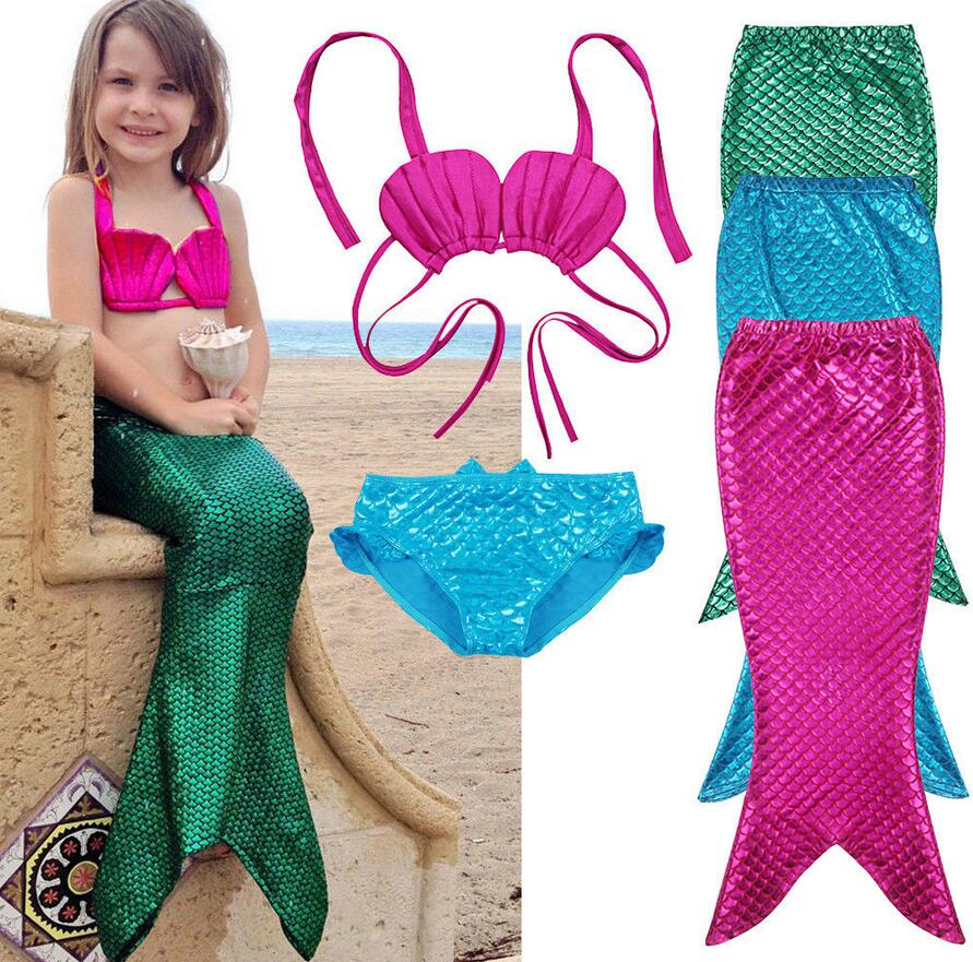 Costume 3Pcs Girl Child Birthday Holiday Mermaid Tail Cosplay Bikini Set Swimsuit 3-9Y