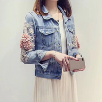 2019 Autumn Women Embroidery Three Dimensional Flowers Pearl Bead Short Denim Coat Woman Long Sleeve Jean Jacket