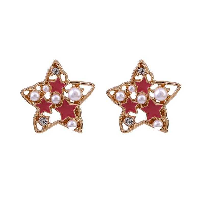 Trendy Rhinestone Pearls Star Stud Earrings Luxury Crystal Hollow Out Earrings For Women Girl Fashion Jewelry Girls 2020