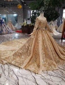 Image 3 - 골드 긴 소매 공 가운 웨딩 드레스 2020 아랍어 이슬람 화려한 골드 레이스 크리스탈 푹신한 빈티지 신부 여성 착용
