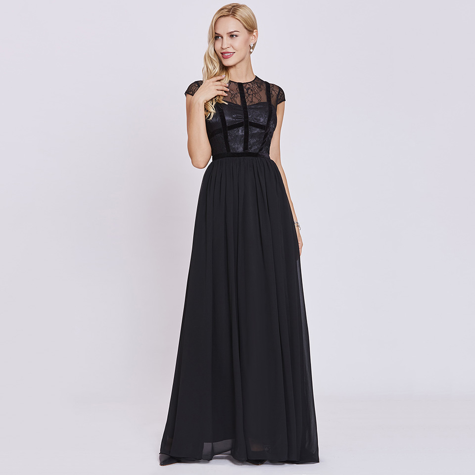 Dressv black scoop neck long evening dress cap sleeves lace wedding party formal dress a line evening dresses