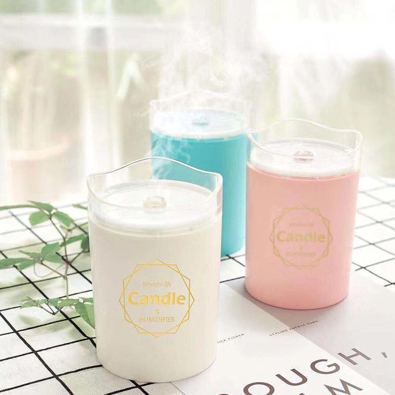 Ultrasonic Air Humidifier Candle Romantic Soft Light USB Essential Oil Diffuser Car Purifier Aroma Anion Mist Maker