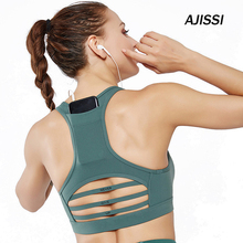 Back pocket sports bra Woman GYM Fitness dry Breathable shockproof cross gauze stitching sports underwear Yoga sport bra