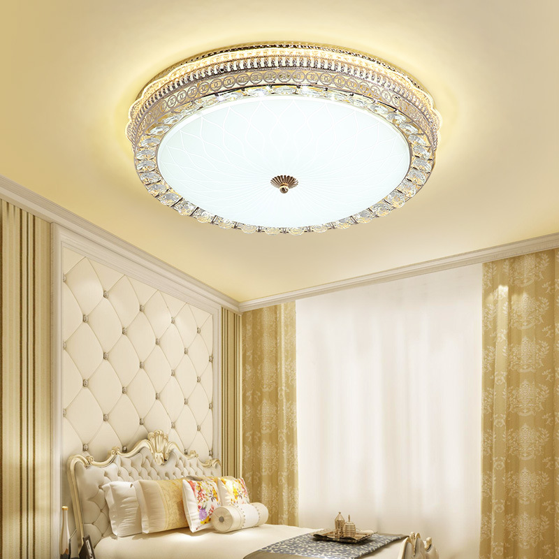 European Style Crystal Lamp LED Circle Ceiling Lamp Living Room Dimming Lamps Glorious Household Light Luxury Room Bedroom Lamp