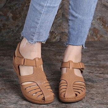 Woman Summer Vintage Wedge Sandals Buckle Casual Sewing Women Shoes Female Ladies Platform Retro Sandalias Plus Size 4
