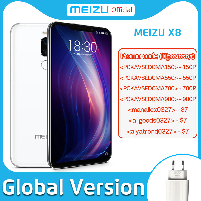 Official Meizu X8 6G 128G Global Version 4G LTE Cell Phone Snapdragon 710 Octa Core 6.2 inch Dual Rear Camera Fingerprint ID