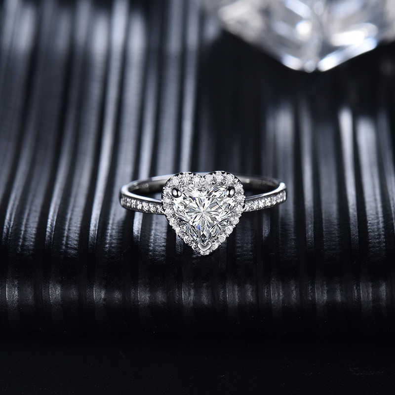 14k Transgems anillos Moissanite oro blanco corazón corte 1ct Moissanite anillo para las mujeres compromiso aniversario boda joyería fina
