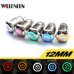 12mm Metal Button Switch Momentary Reset Latching Lock PC Power Electrical Button Start Stop Switch LED 3V 6V 12V 24V 220V