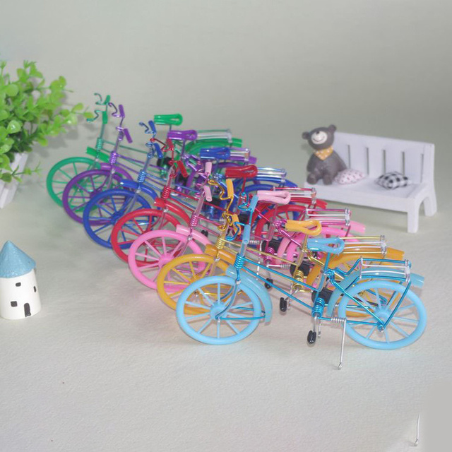 Creative Handmade Iron Bicycle Decoration Crafts for Home Office Gifts Figurines Miniatures Blue Pink Purple Small Bike Model 4