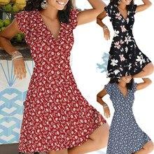 Boho Polka Dot Print Mini Dress Shirt Casual Elegant Dress Party Dress Retro Skirt 2020 Summer For Women's Orange Midi Dresses