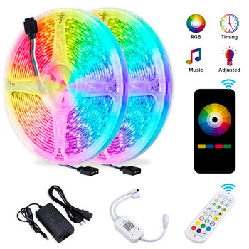 5M 10M 15M LED Strip Lights Sync To Music RGB LED Tape SMD 5050 Color Changing Rope Light Bluetooth Smart Phone Control Lights